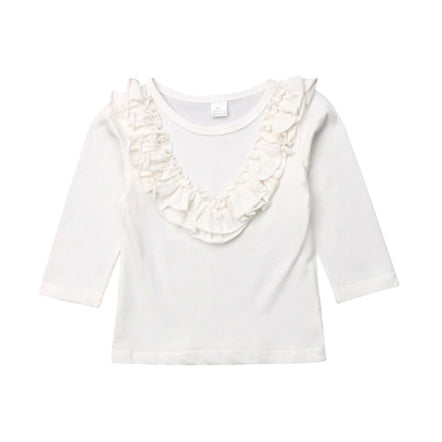 Girl Solid Long Sleeve Tops - White Ruffle Blouse