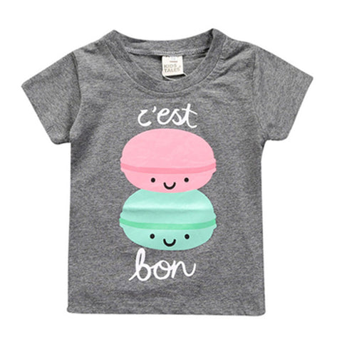 Girl Short Sleeve Tops - Macaroons