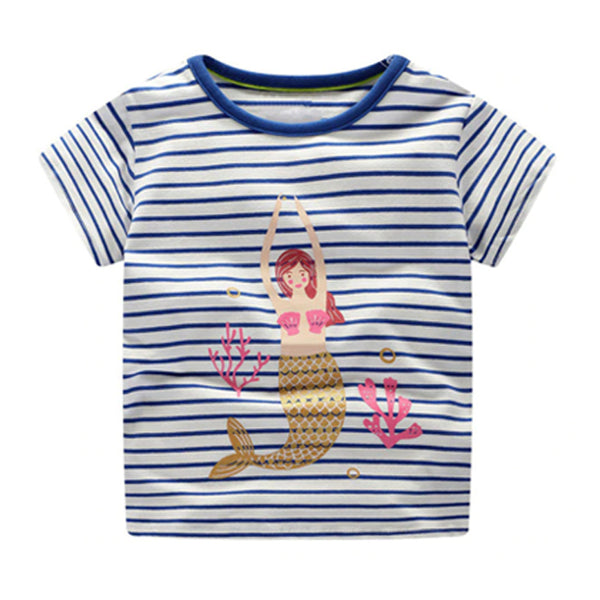 Girl Short Sleeve Tops - Mermaids