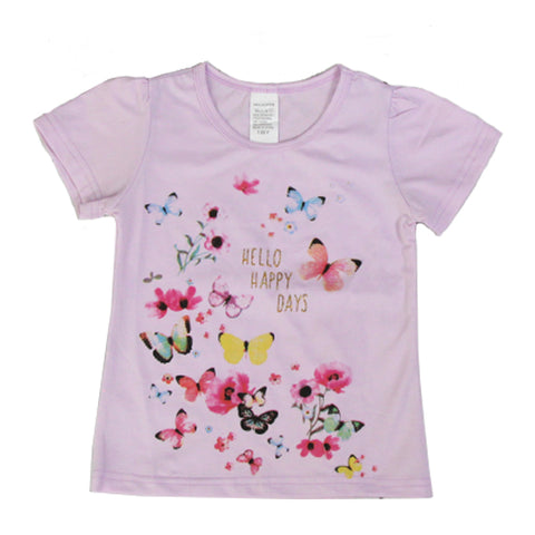 Girl Short Sleeve Tops - Purple Butterflies