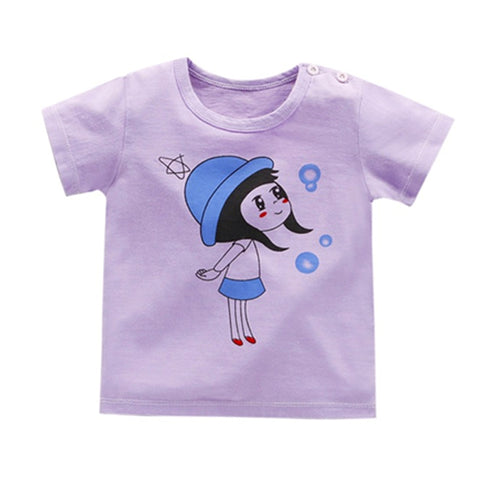 Girl Short Sleeve Tops - Purple Girl