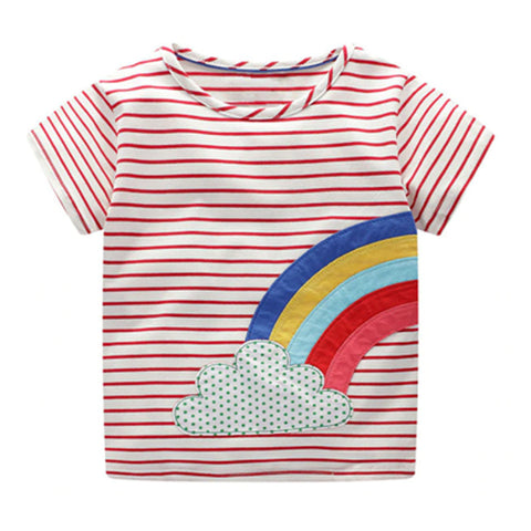 Girl Short Sleeve Tops - Rainbow
