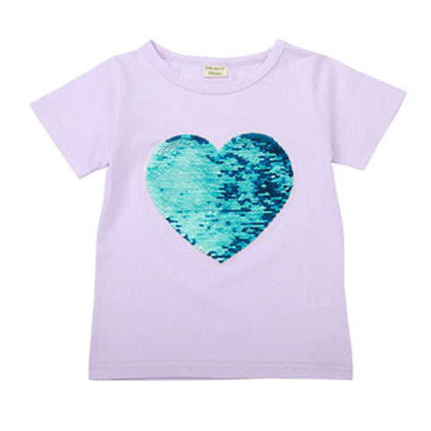 Girl Short Sleeve Tops - Sequin Heart
