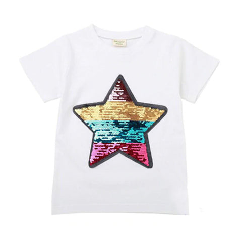 Girl Short Sleeve Tops - Sequin Star