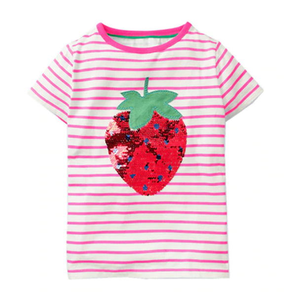 Girl Short Sleeve Tops - Strawberry Sequin