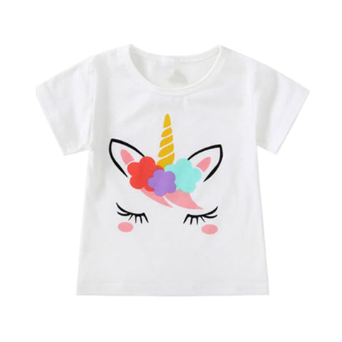 Girl Short Sleeve Tops - Unicorn