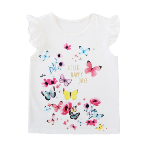 Girl Short Sleeve Tops - White Butterflies