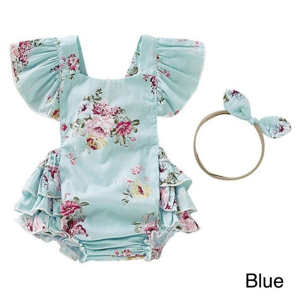 Spring/Summer Blue and Cream Rompers
