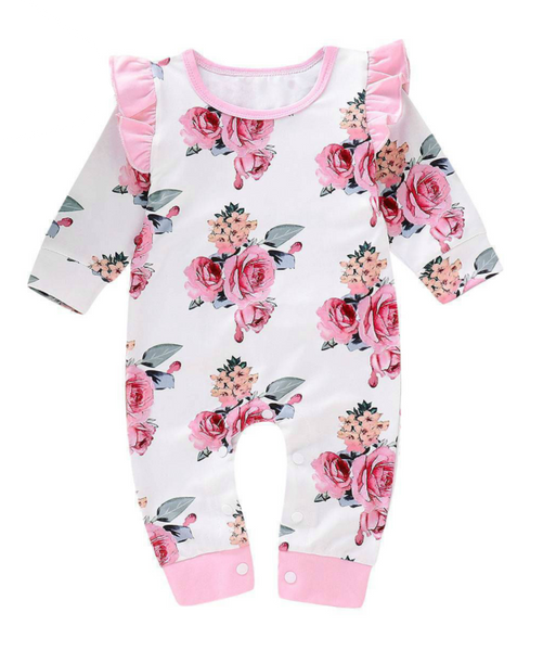 Baby Girl Long Sleeve Rompers - Pink Roses