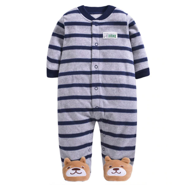 Softest Fleece Baby Pajamas with Feet - Blue Stripe