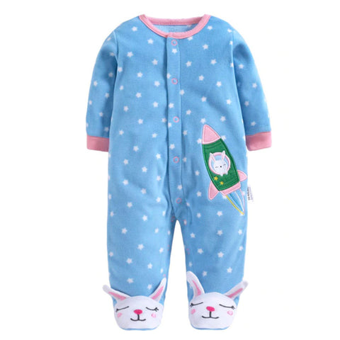 Softest Fleece Baby Pajamas with Feet - Bunny Rocket