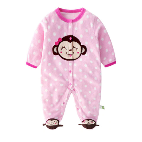Softest Fleece Baby Pajamas with Feet - Cute Monkey
