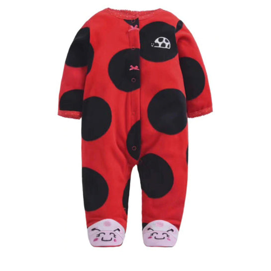 Softest Fleece Baby Pajamas with Feet - Ladybug