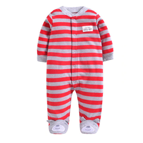 Softest Fleece Baby Pajamas with Feet - Red Stripe