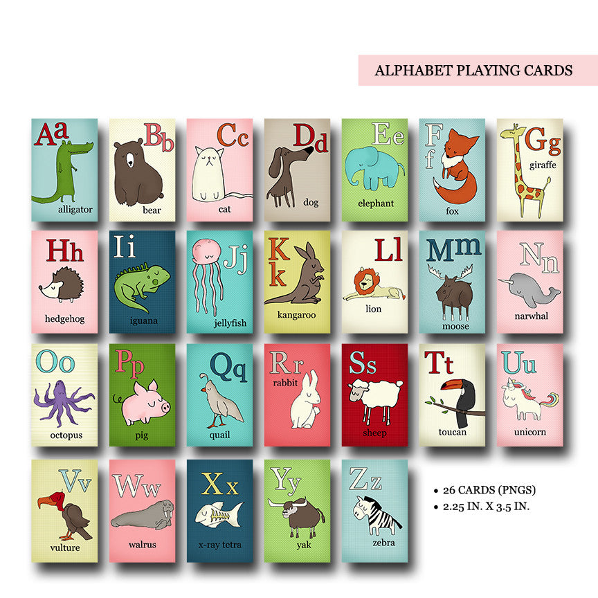 image relating to Playing Card Printable identified as Alphabet Taking part in Playing cards Electronic Printable