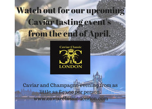 Upcoming caviar tasting events.