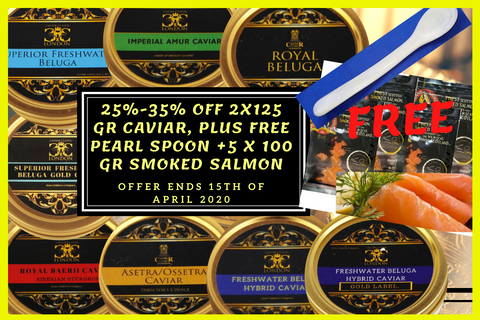 2 x 125 gr tin of caviar, (25/35% off)+ FREE mother of pearl spoon & 500 gr Smoked Scottish Salmon.