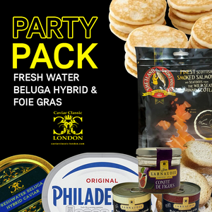 Freshwater Beluga Hybrid & Foie gras Party Pack (30-125g) - Caviar Classic London