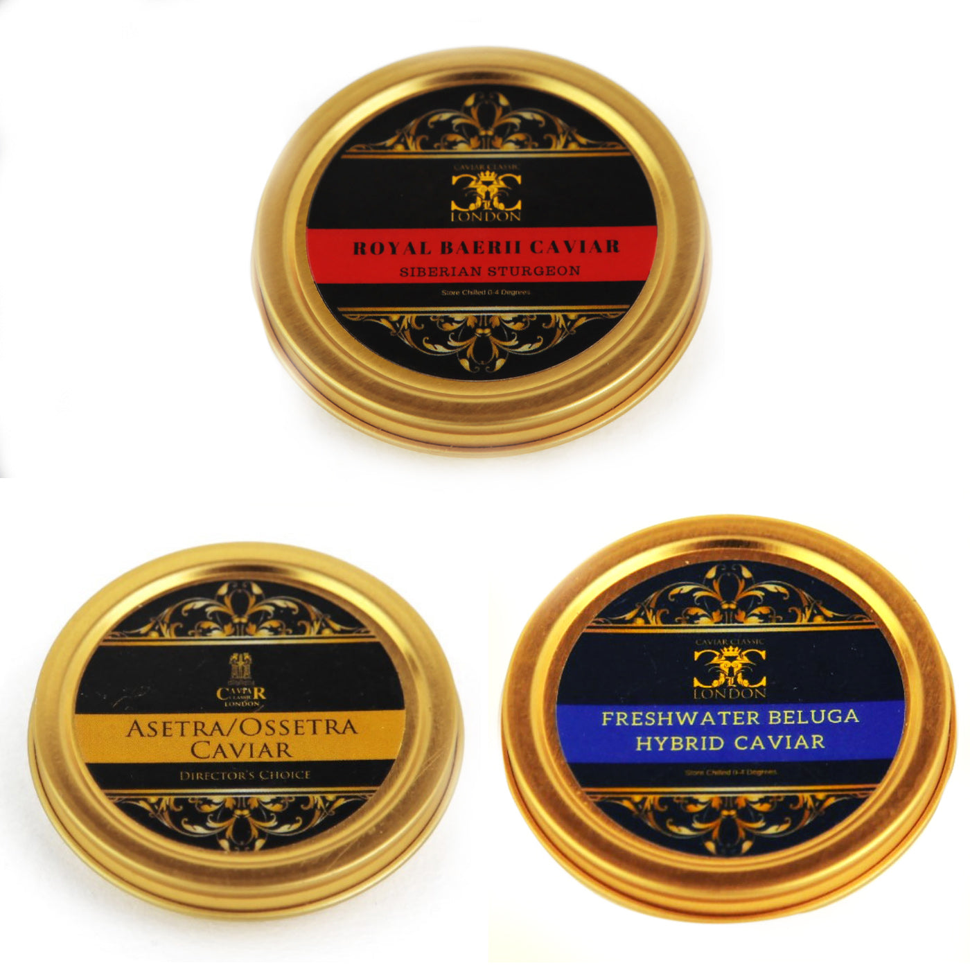 Classic Trio of Caviar 3 x (30-125gr). 3 of the favorites. 25% off+Extra 5% until 29.02. - Caviar Classic London