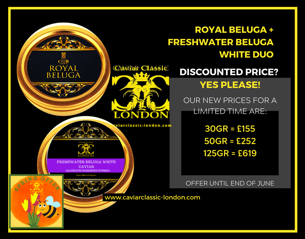 Beluga Duo. Royal & Superior White. The ultimate in caviar. 30-250 gr. 30% off - Caviar Classic London