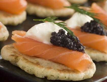 2/4/6 x 20 French Cocktail Blinis - Caviar Classic London