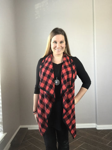 Buffalo Plaid Draped Vest
