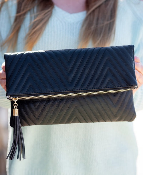 Chevron Stitched Clutch in Black