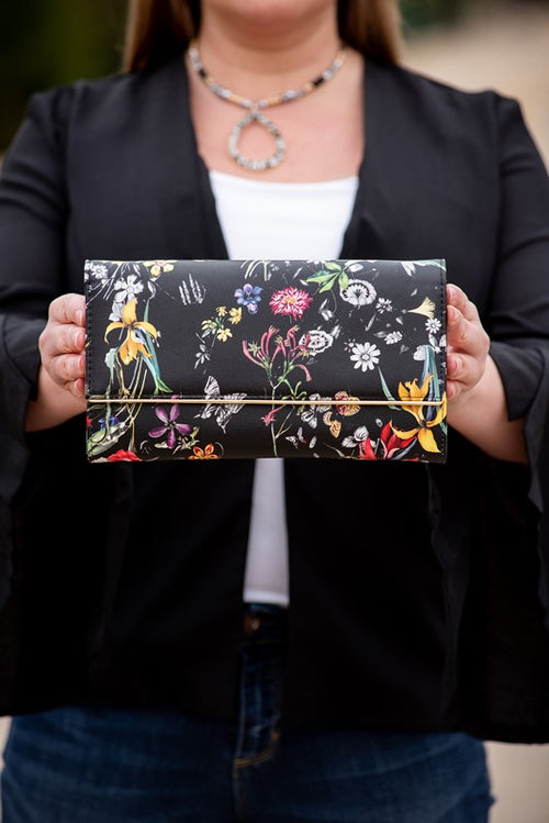 Floral Faux Leather Clutch