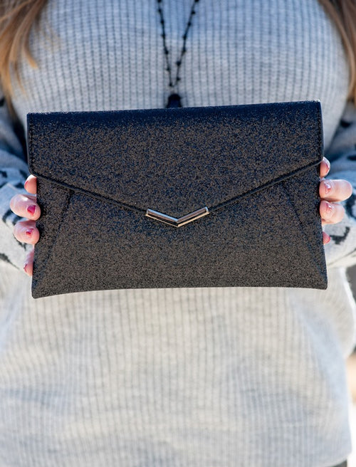 Sparkly Envelope Clutch in Black
