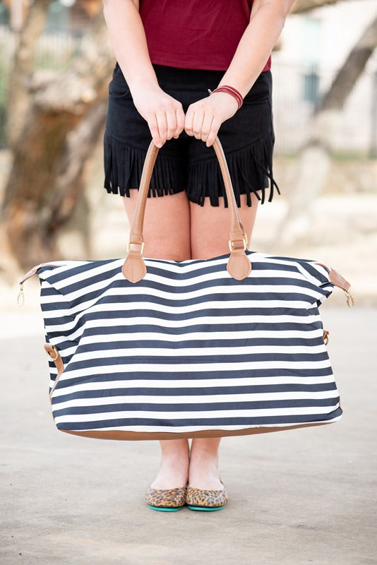 Black & White Stripes Weekender Bag