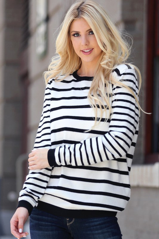 Black & White Striped Sweater black cuffs southern seahorse boutique