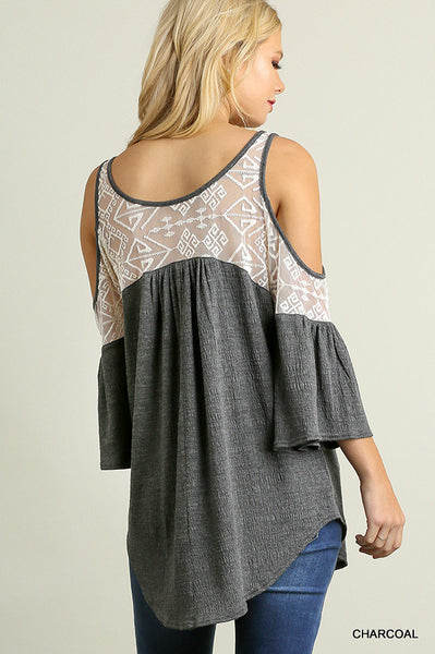 Lace Cold Shoulder Top in Charcoal