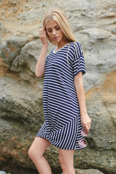 Striped Knot Hem Dress