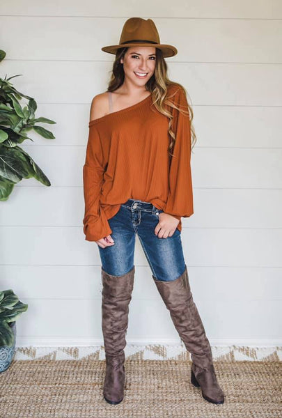 burnt orange rust bubble cuff top off shoulder southern seahorse boutique