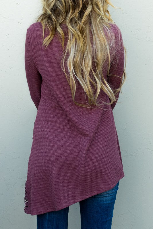 Button Lace Tunic 3/4 Sleeve Southern Seahorse Boutique mauve