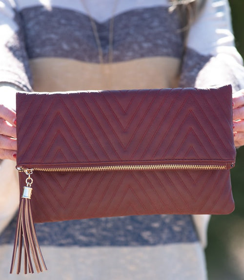 Chevron Stitched Clutch in Cranberry