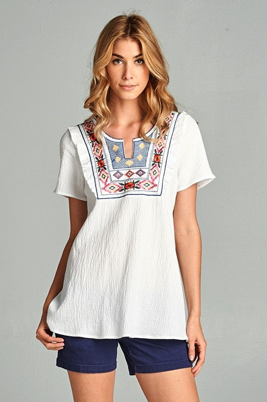 Crinkle Embroidered Detail Top