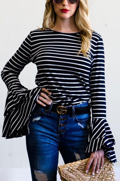 Double Bell Sleeve Striped Top navy southern seahorse boutique