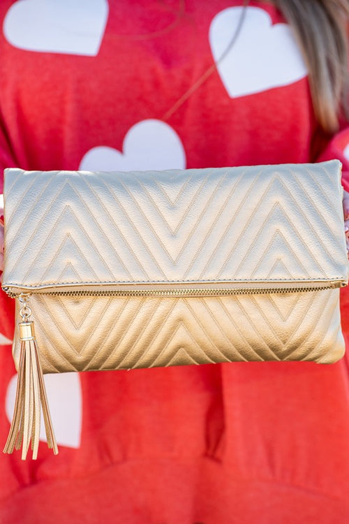 Chevron Stitched Clutch in Gold