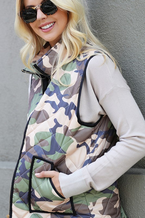 Padded Camo Vest pockets Southern Seahorse Boutique