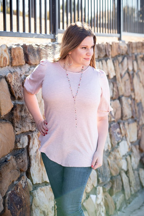 Puff Sleeve Top in Blush