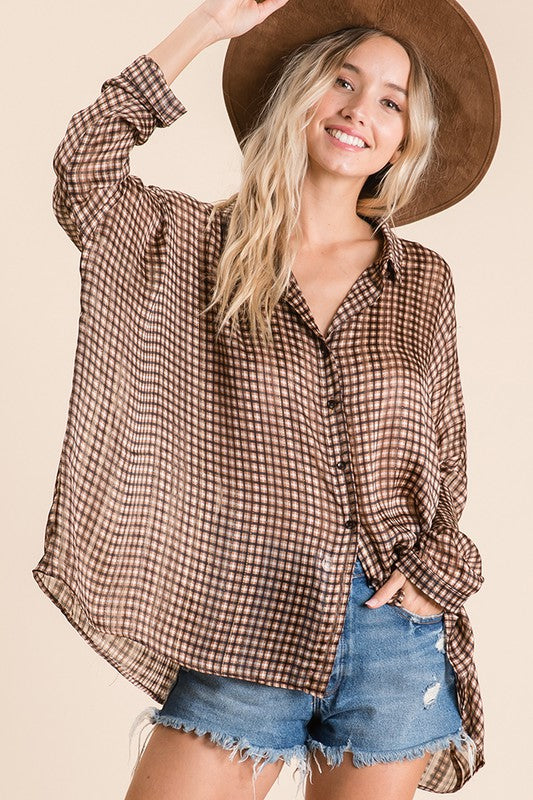 Sheer Checker Dolman