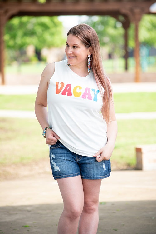 Vacay Tank in White