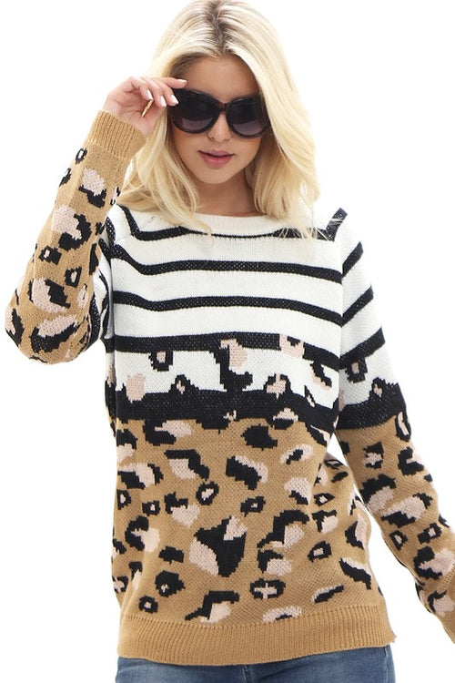 Stripe & Leopard Sweater mixed print southern seahorse boutique