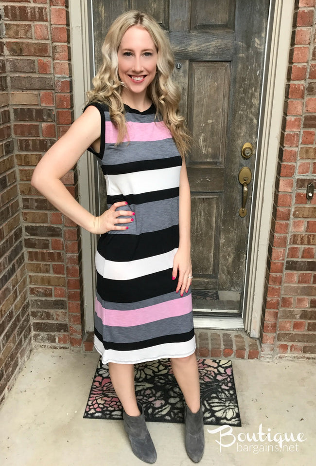 Pink/Grey/Black Midi Dress