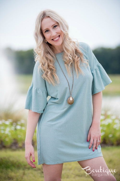 Pinstripe Bell Sleeve Tunic Dress in Mint or Pink