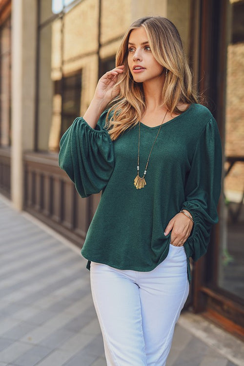 Cashmere Brushed V Neck Top