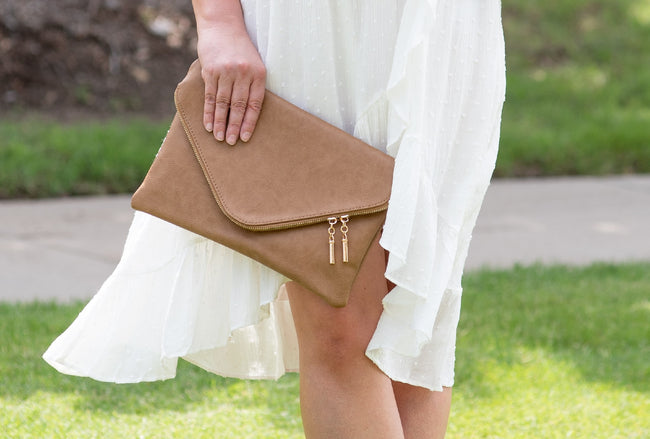 Envelope Clutch in Stone