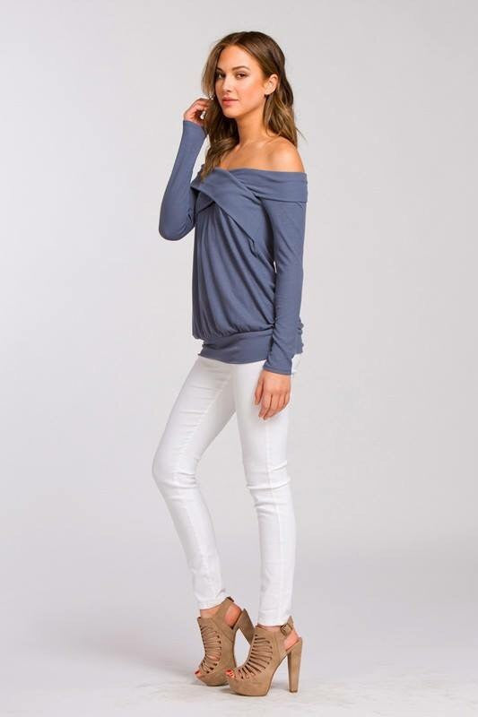 Crossover Off Shoulder Top in Blue