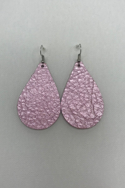 Pink Snake Leather Earrings